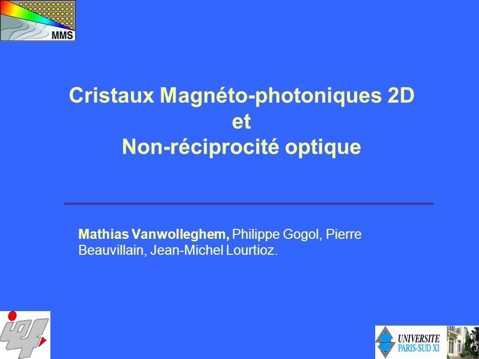 Mathias Vanwolleghem, Philippe Gogol, Pierre Beauvillain, Jean-Michel Lourtioz. Cristaux Magnéto-photoniques 2D et Non-réciprocité optique