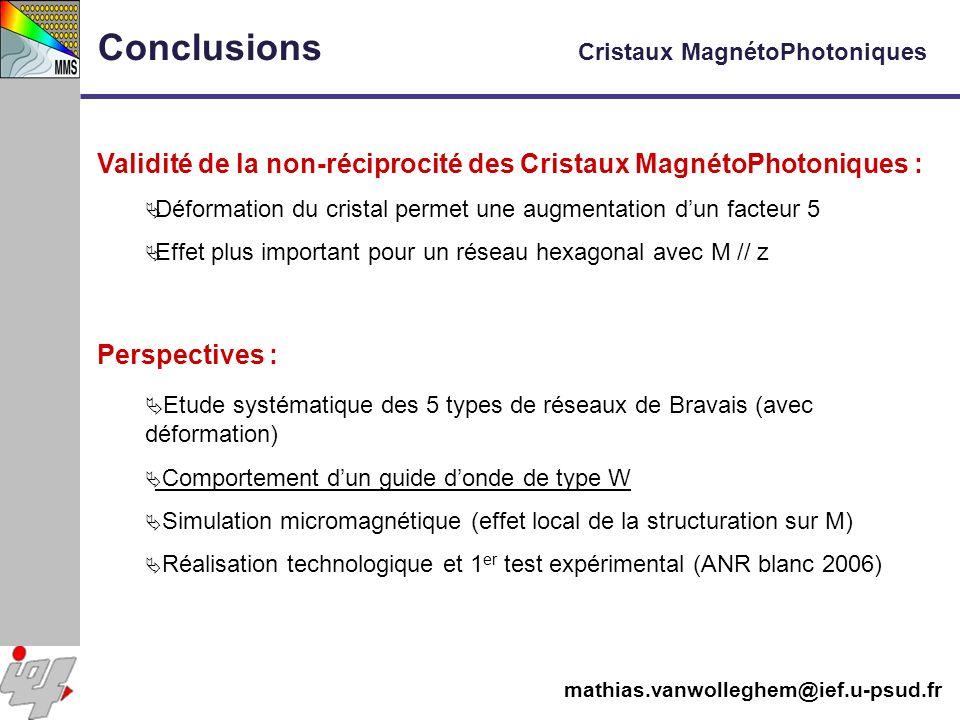 Conclusions Cristaux MagnétoPhotoniques Validité de la non-réciprocité des Cristaux MagnétoPhotoniques : Déformation du cristal permet une augmentatio