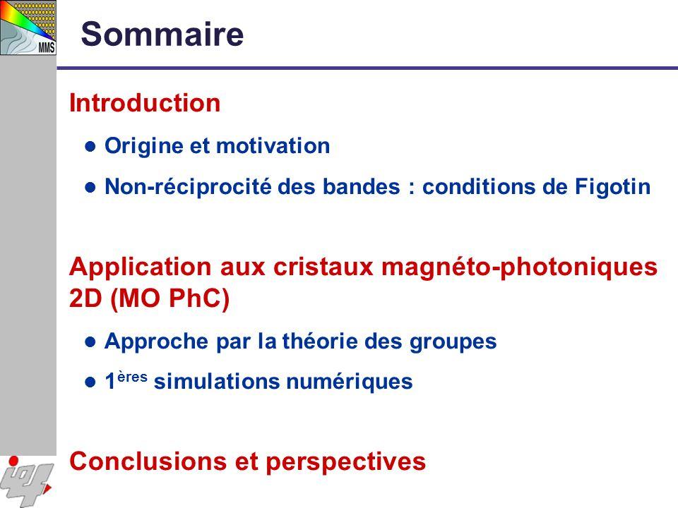 Sommaire Introduction Origine et motivation Non-réciprocité des bandes : conditions de Figotin Application aux cristaux magnéto-photoniques 2D (MO PhC