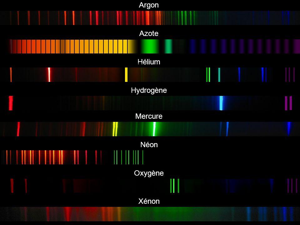 Argon Azote Hydrogène Mercure Néon Oxygène Xénon Hélium