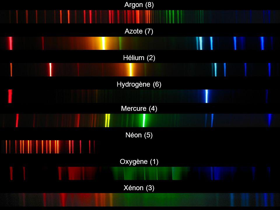 Argon (8) Azote (7) Hydrogène (6) Mercure (4) Néon (5) Oxygène (1) Xénon (3) Hélium (2)
