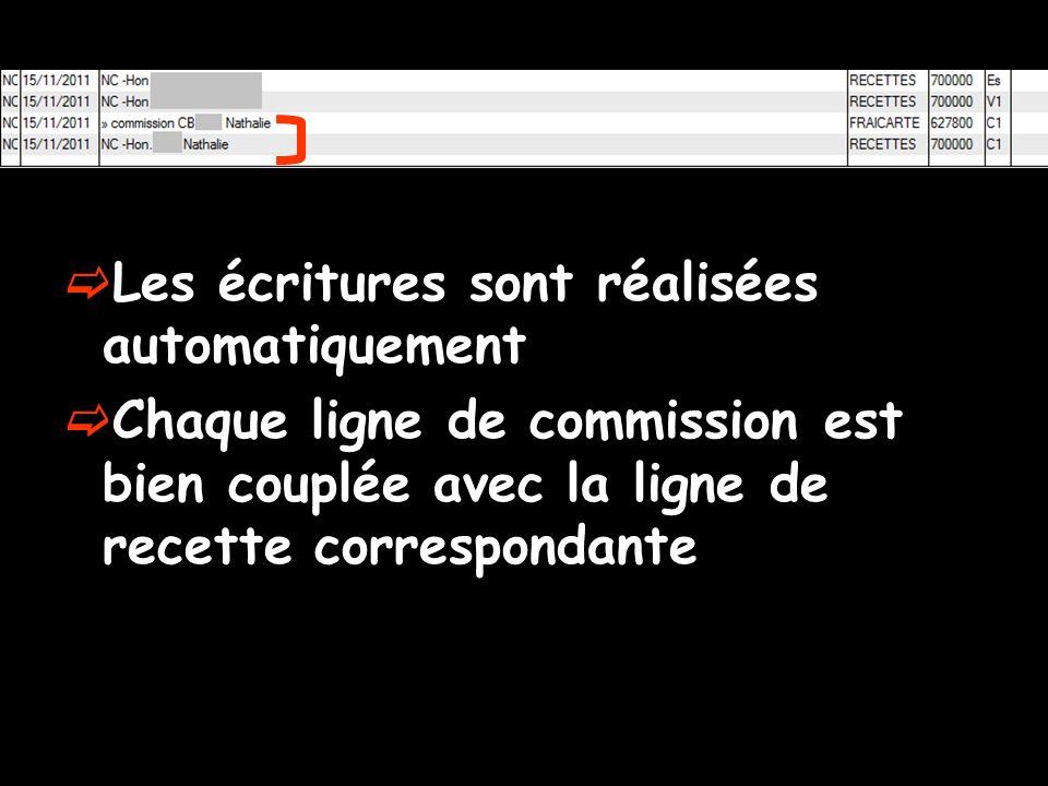 Les écritures sont réalisées automatiquement Chaque ligne de commission est bien couplée avec la ligne de recette correspondante