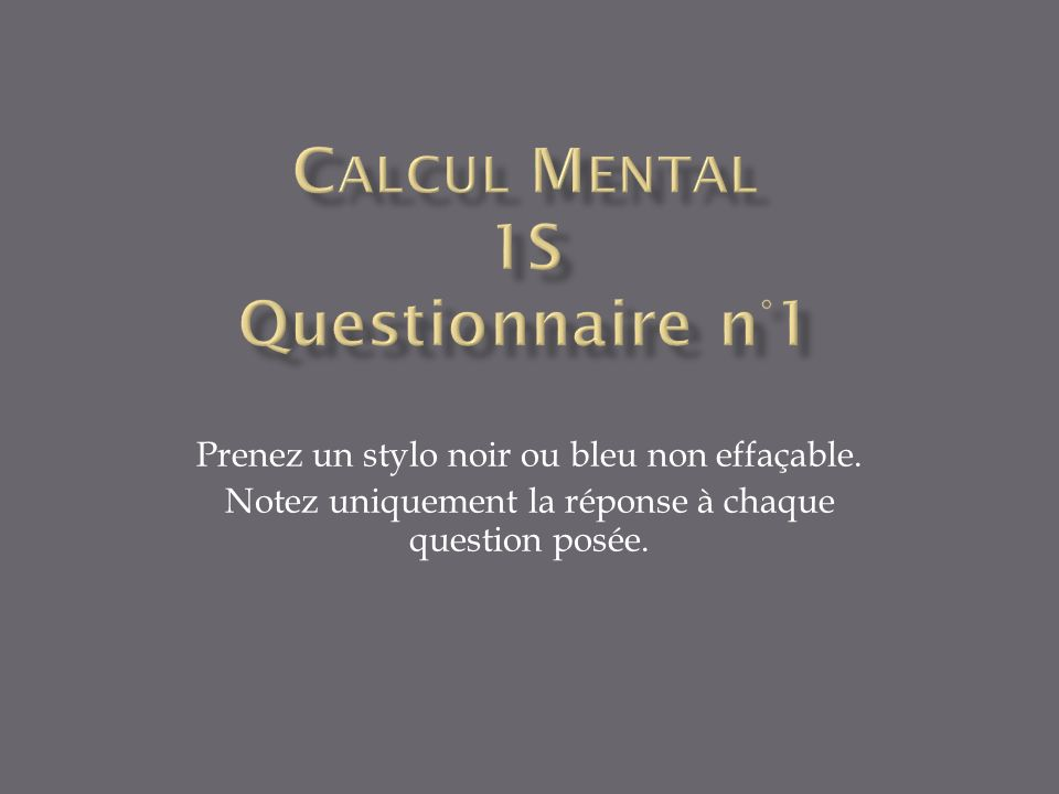 Question 1 – 30s