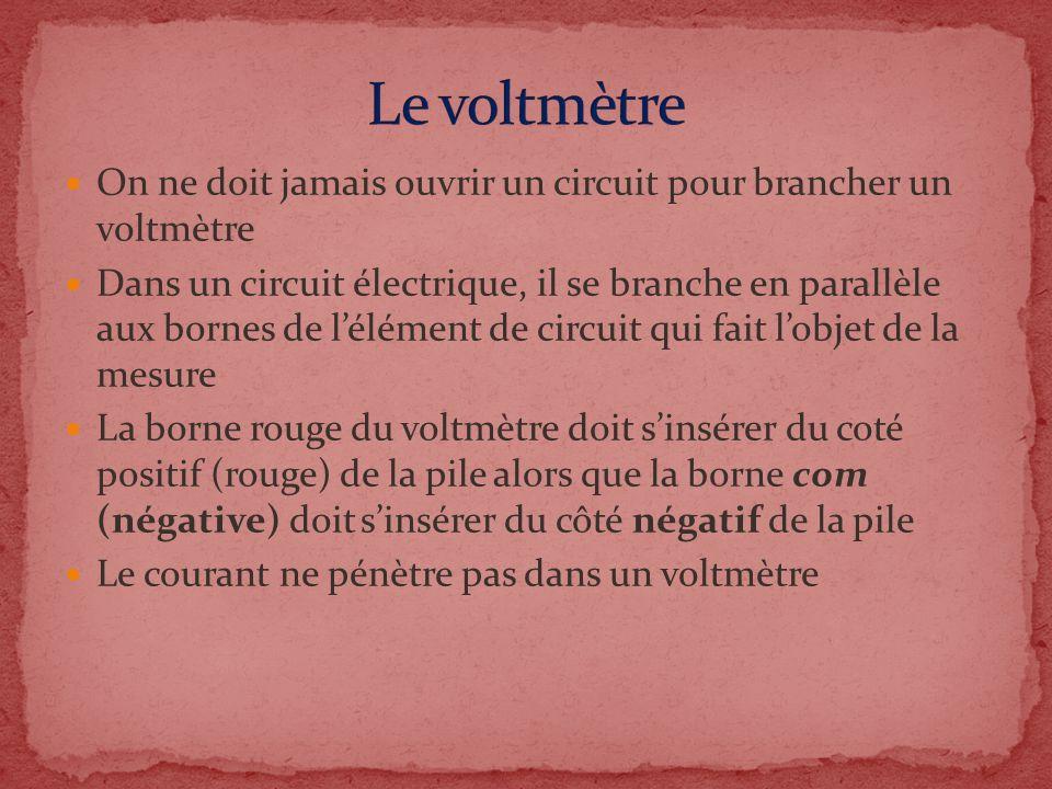 On ne doit jamais ouvrir un circuit pour brancher un voltmètre Dans un circuit électrique, il se branche en parallèle aux bornes de lélément de circui
