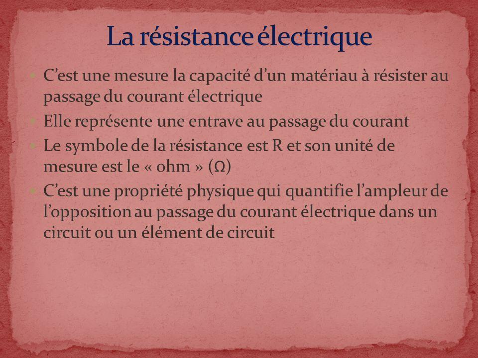 Cest une mesure la capacité dun matériau à résister au passage du courant électrique Elle représente une entrave au passage du courant Le symbole de l