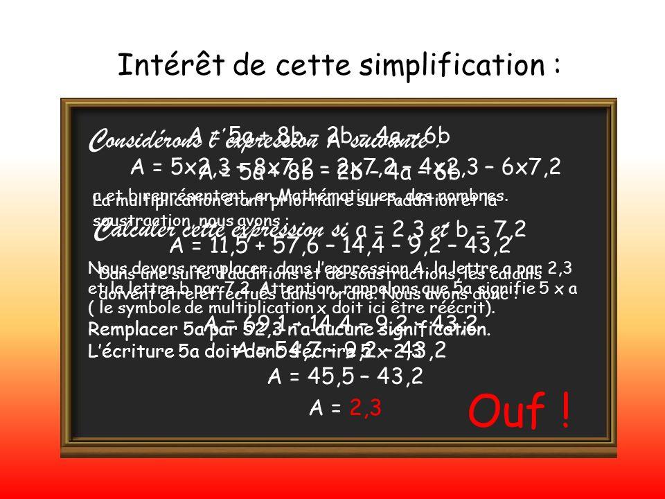 Intérêt de cette simplification : Considérons lexpression A suivante : A = 5a + 8b – 2b – 4a – 6b a et b représentent, en Mathématiques, des nombres.