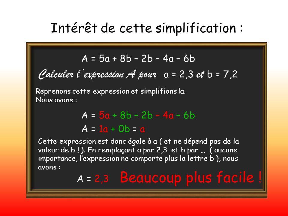 Intérêt de cette simplification : A = 5a + 8b – 2b – 4a – 6b Reprenons cette expression et simplifions la. Nous avons : Calculer lexpression A pour a