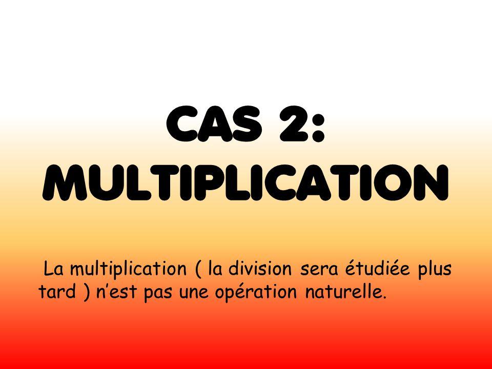 CAS 2: MULTIPLICATION La multiplication ( la division sera étudiée plus tard ) nest pas une opération naturelle.