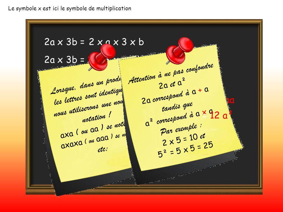 2a x 3b = Le symbole x est ici le symbole de multiplication 2 x a x 3 x b 2a x 3b = 2 x 3 x a x b= 6 x a x b= 6ab 2a x b x 4c =2 x a x b x 4 x c= 8 ab