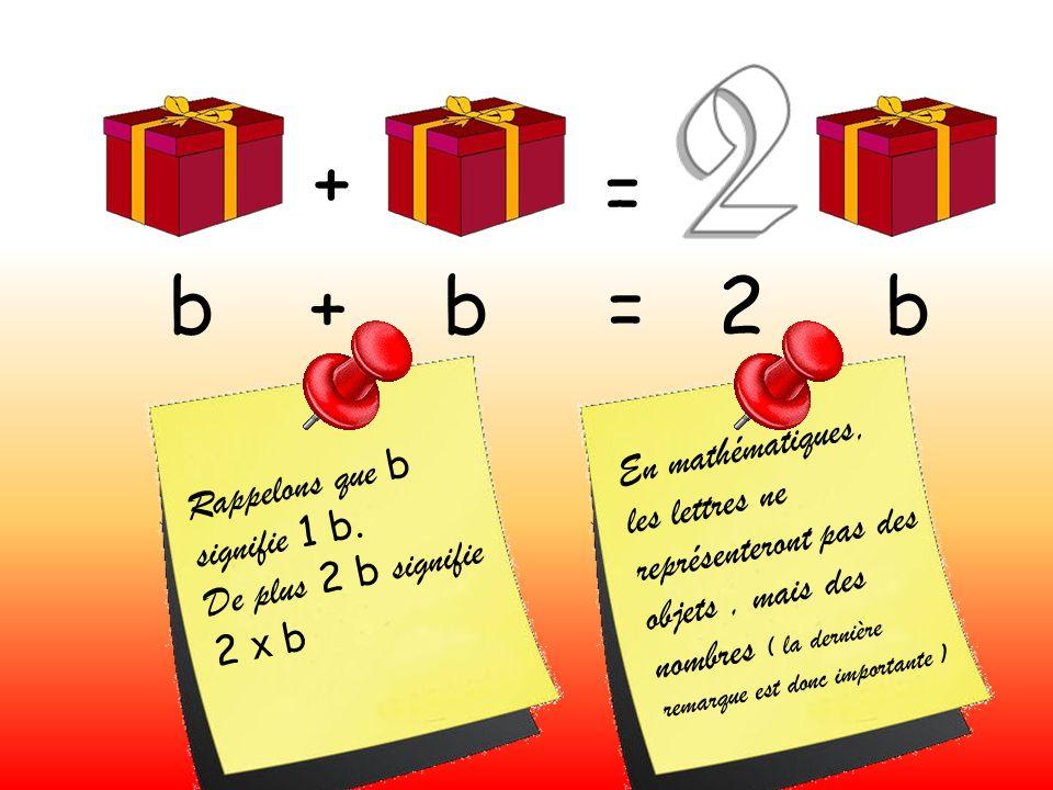 + = b + b = 2 b R a p p e l o n s q u e b s i g n i f i e 1 b. D e p l u s 2 b s i g n i f i e 2 x b E n m a t h é m a t i q u e s, l e s l e t t r e