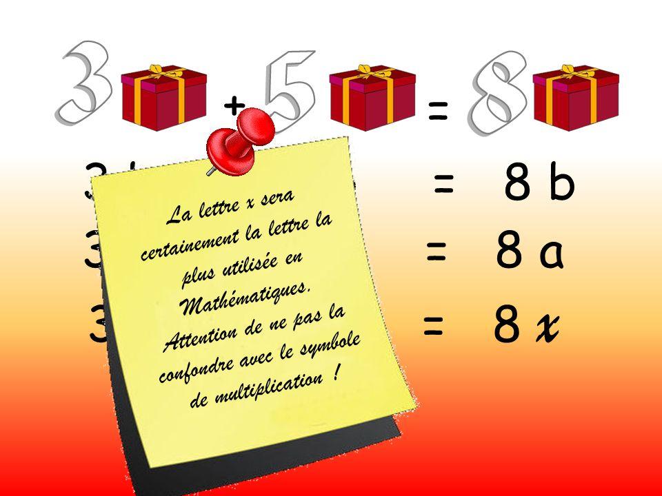 + = 3 b + 5 b = 8 b 3 a + 5 a = 8 a 3 x + 5 x = 8 x L a l e t t r e x s e r a c e r t a i n e m e n t l a l e t t r e l a p l u s u t i l i s é e e n