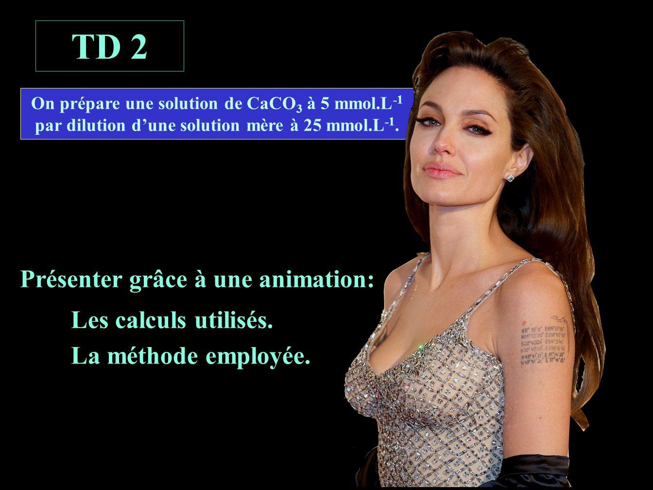 Préparation de la solution étalon fille D = Cf / CmD = 5 / 25 = 1 / 5 = 10 mL 10 mL C ét = 5 mmol.L -1 V fiole = 50 mL C m = 25 mmol.L -1 Calcul de la dilution Calcul du volume initial D = Vi / Vf Vi = Vf x D = 50 x 1/5