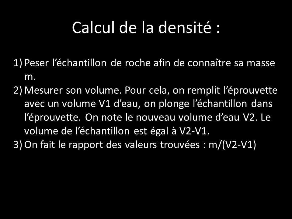 Calcul de la densité : 1)Peser léchantillon de roche afin de connaître sa masse m.