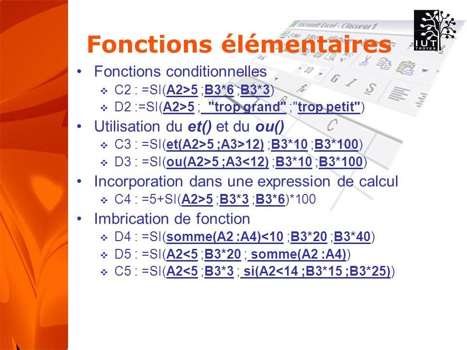 Fonctions élémentaires Fonctions conditionnelles C2 : =SI(A2>5 ;B3*6 ;B3*3) D2 :=SI(A2>5 ; trop grand ; trop petit ) Utilisation du et() et du ou() C3 : =SI(et(A2>5 ;A3>12) ;B3*10 ;B3*100) D3 : =SI(ou(A2>5 ;A3<12) ;B3*10 ;B3*100) Incorporation dans une expression de calcul C4 : =5+SI(A2>5 ;B3*3 ;B3*6)*100 Imbrication de fonction D4 : =SI(somme(A2 :A4)<10 ;B3*20 ;B3*40) D5 : =SI(A2<5 ;B3*20 ; somme(A2 :A4)) C5 : =SI(A2<5 ;B3*3 ; si(A2<14 ;B3*15 ;B3*25))