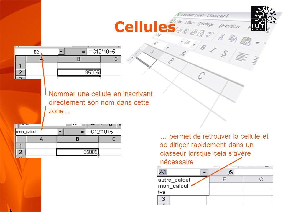 Cellules Nommer une cellule en inscrivant directement son nom dans cette zone….