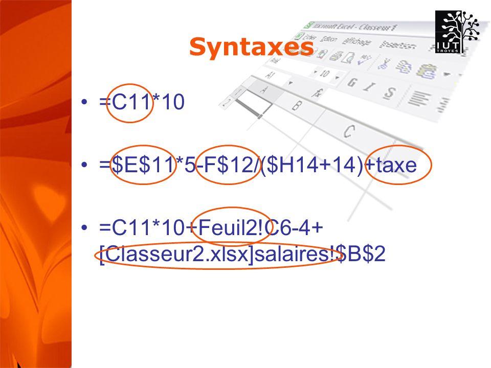Syntaxes =C11*10 =$E$11*5-F$12/($H14+14)+taxe =C11*10+Feuil2!C6-4+ [Classeur2.xlsx]salaires!$B$2