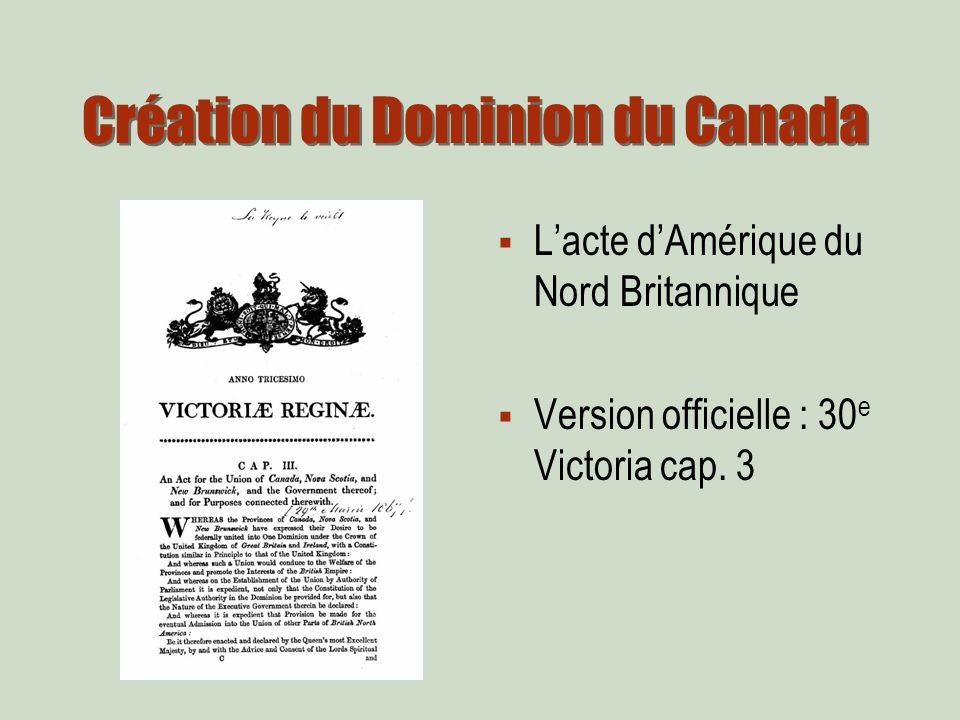 Lacte dAmérique du Nord Britannique Version officielle : 30 e Victoria cap. 3