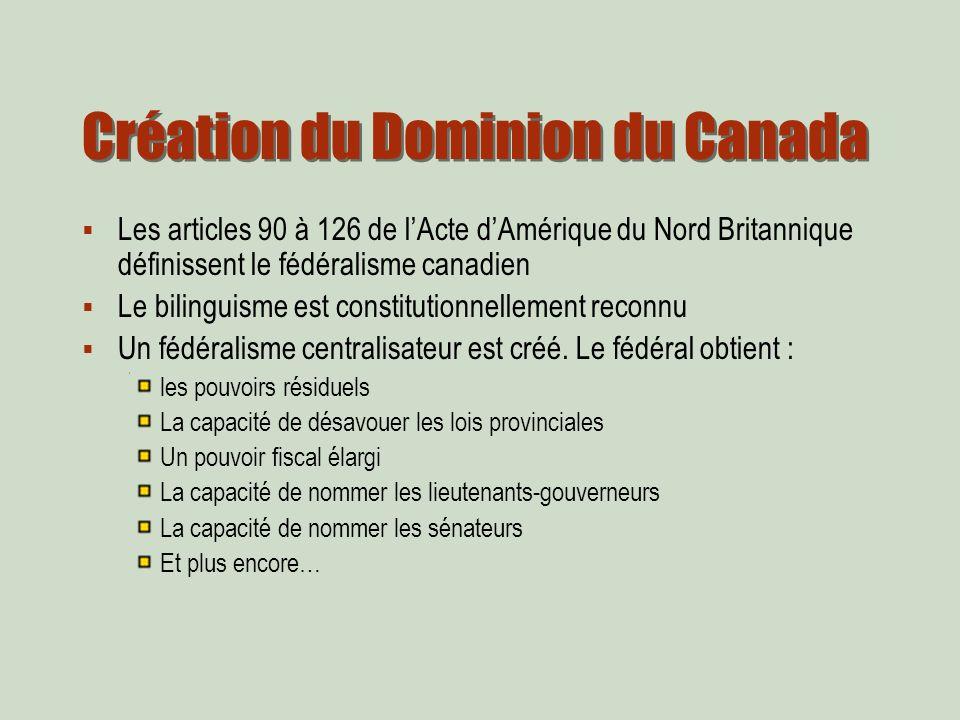 Les articles 90 à 126 de lActe dAmérique du Nord Britannique définissent le fédéralisme canadien Le bilinguisme est constitutionnellement reconnu Un fédéralisme centralisateur est créé.