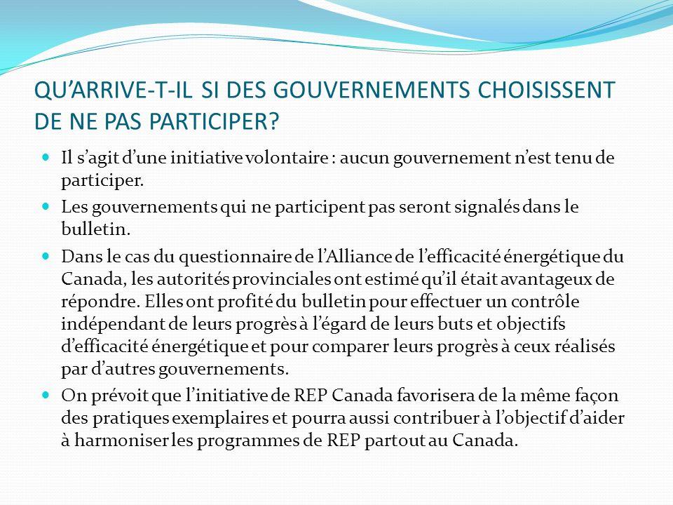 QUARRIVE-T-IL SI DES GOUVERNEMENTS CHOISISSENT DE NE PAS PARTICIPER.