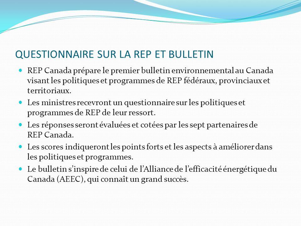 QUESTIONNAIRE SUR LA REP ET BULLETIN REP Canada prépare le premier bulletin environnemental au Canada visant les politiques et programmes de REP fédéraux, provinciaux et territoriaux.