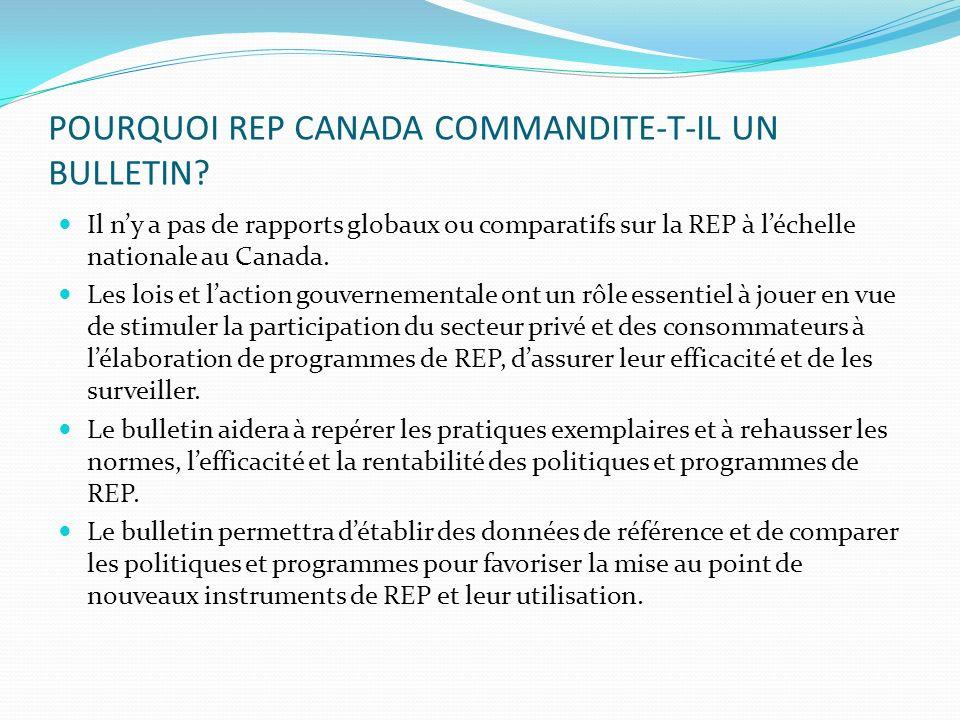 POURQUOI REP CANADA COMMANDITE-T-IL UN BULLETIN? Il ny a pas de rapports globaux ou comparatifs sur la REP à léchelle nationale au Canada. Les lois et