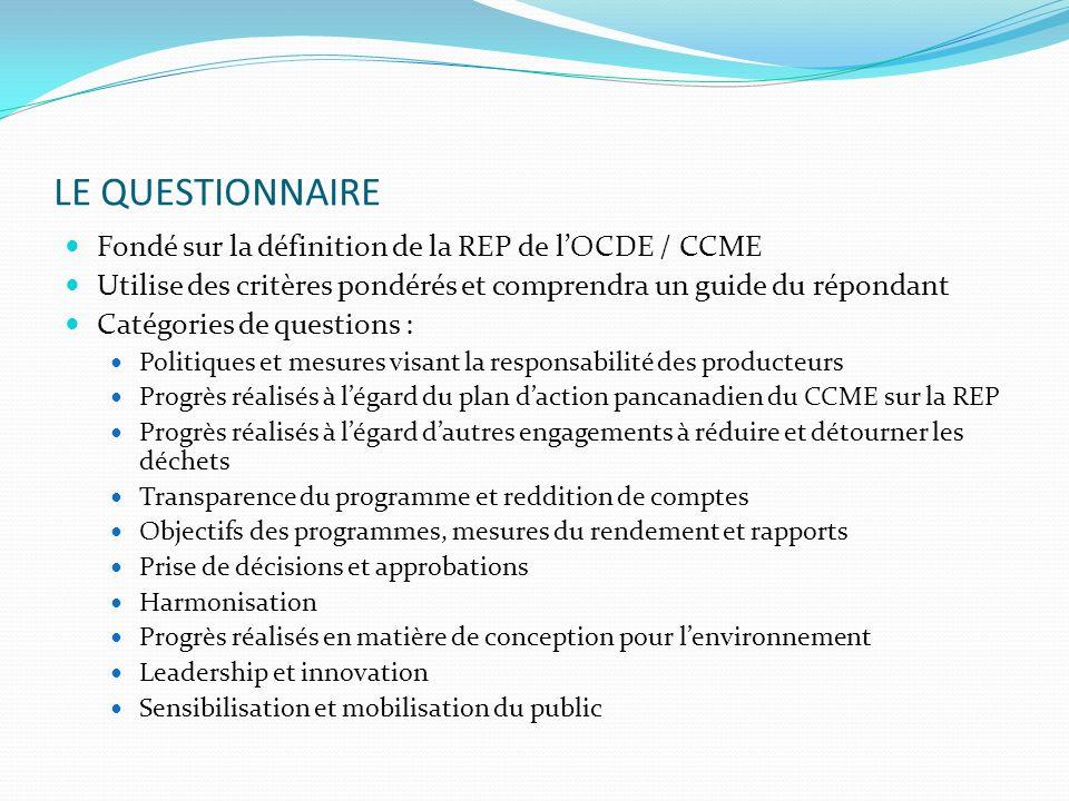 LE QUESTIONNAIRE Fondé sur la définition de la REP de lOCDE / CCME Utilise des critères pondérés et comprendra un guide du répondant Catégories de que