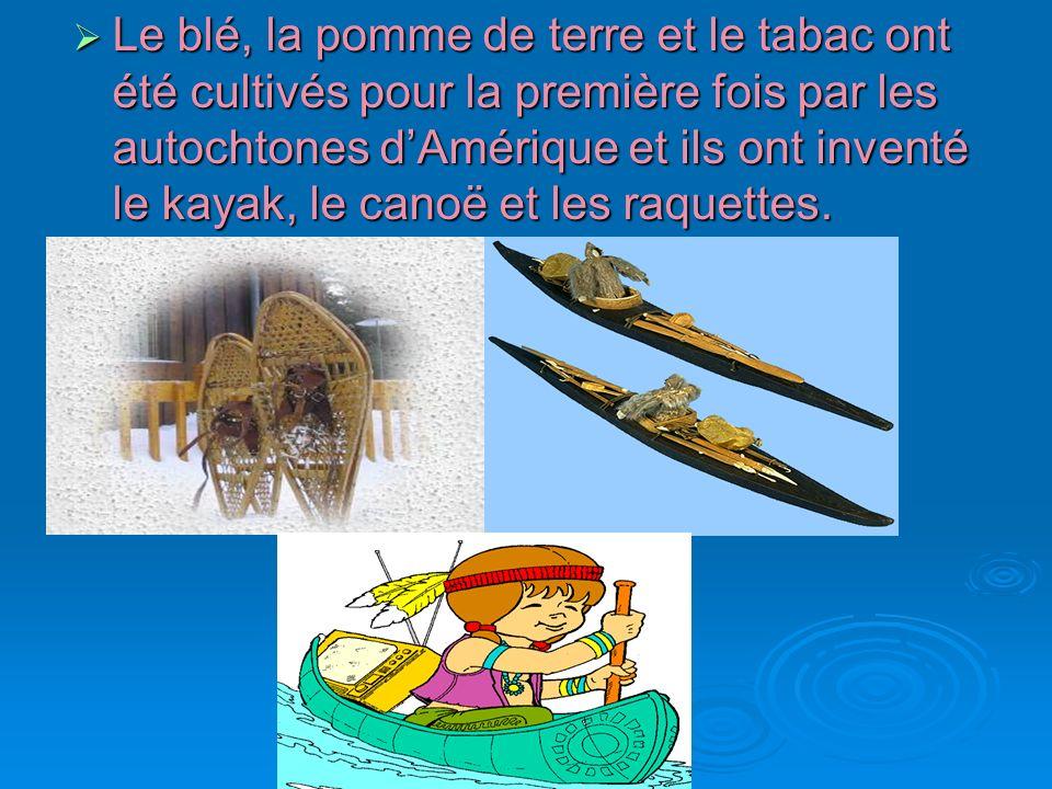 Le blé, la pomme de terre et le tabac ont été cultivés pour la première fois par les autochtones dAmérique et ils ont inventé le kayak, le canoë et le