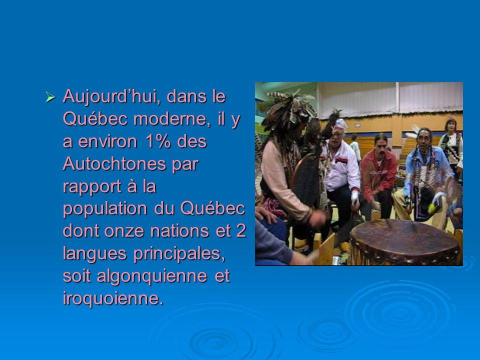 Aujourdhui, dans le Québec moderne, il y a environ 1% des Autochtones par rapport à la population du Québec dont onze nations et 2 langues principales