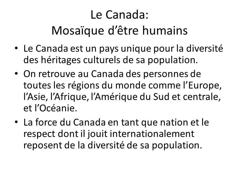 Le Canada: Mosaïque dêtre humains Le Canada est un pays unique pour la diversité des héritages culturels de sa population. On retrouve au Canada des p