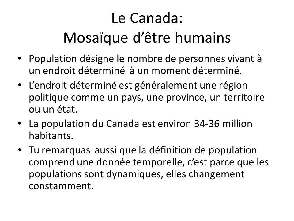 Le Canada: Mosaïque dêtre humains Population désigne le nombre de personnes vivant à un endroit déterminé à un moment déterminé.