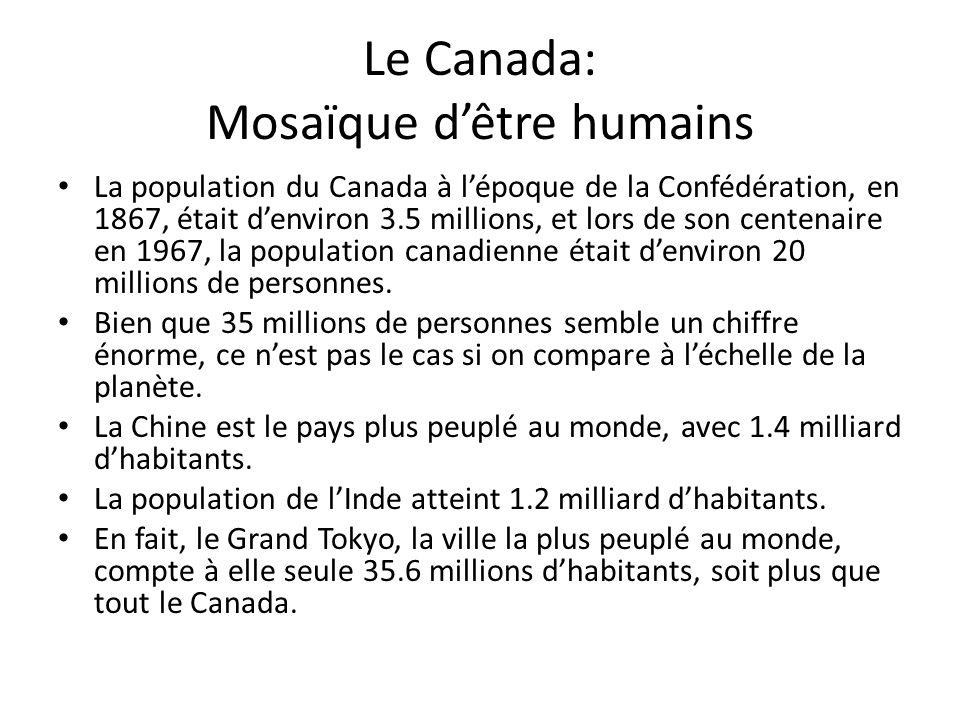 Le Canada: Mosaïque dêtre humains La population du Canada à lépoque de la Confédération, en 1867, était denviron 3.5 millions, et lors de son centenaire en 1967, la population canadienne était denviron 20 millions de personnes.