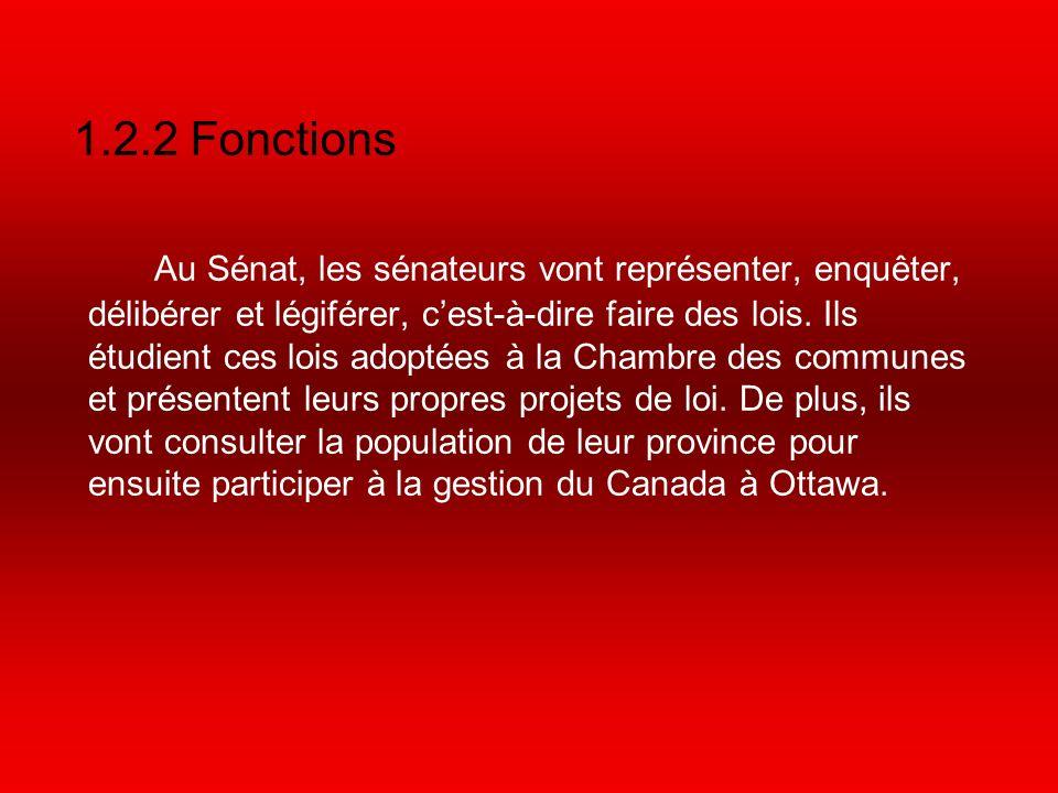 1.2.2 Fonctions Au Sénat, les sénateurs vont représenter, enquêter, délibérer et légiférer, cest-à-dire faire des lois.