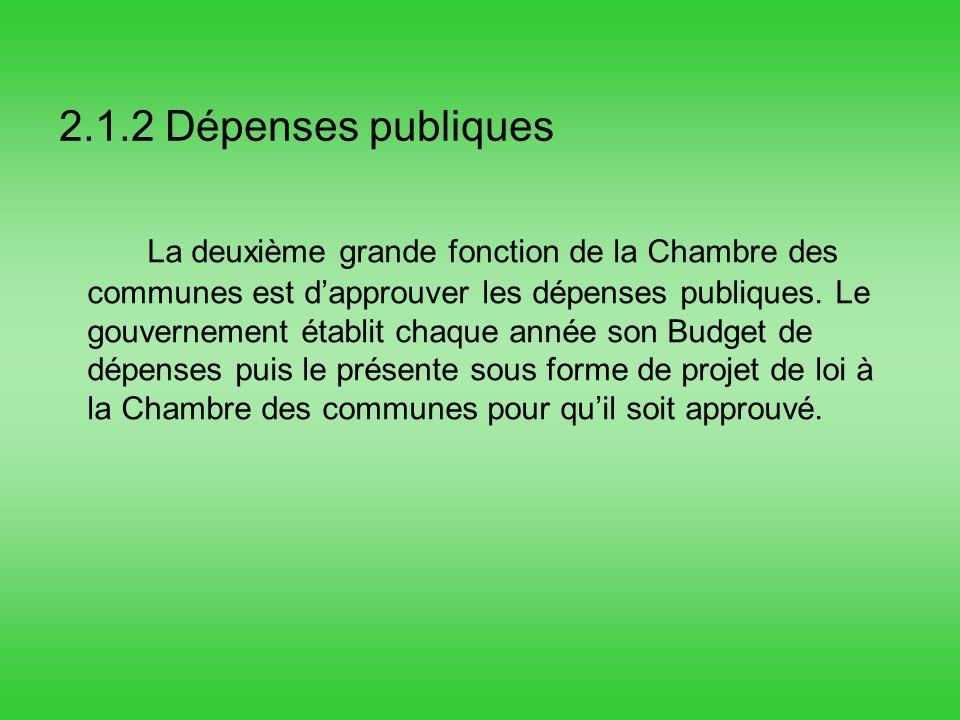 2.1.2 Dépenses publiques La deuxième grande fonction de la Chambre des communes est dapprouver les dépenses publiques.