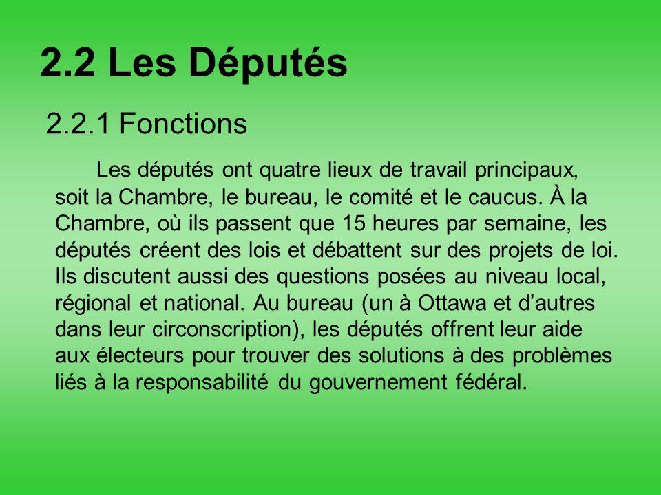 2.2 Les Députés Les députés ont quatre lieux de travail principaux, soit la Chambre, le bureau, le comité et le caucus.