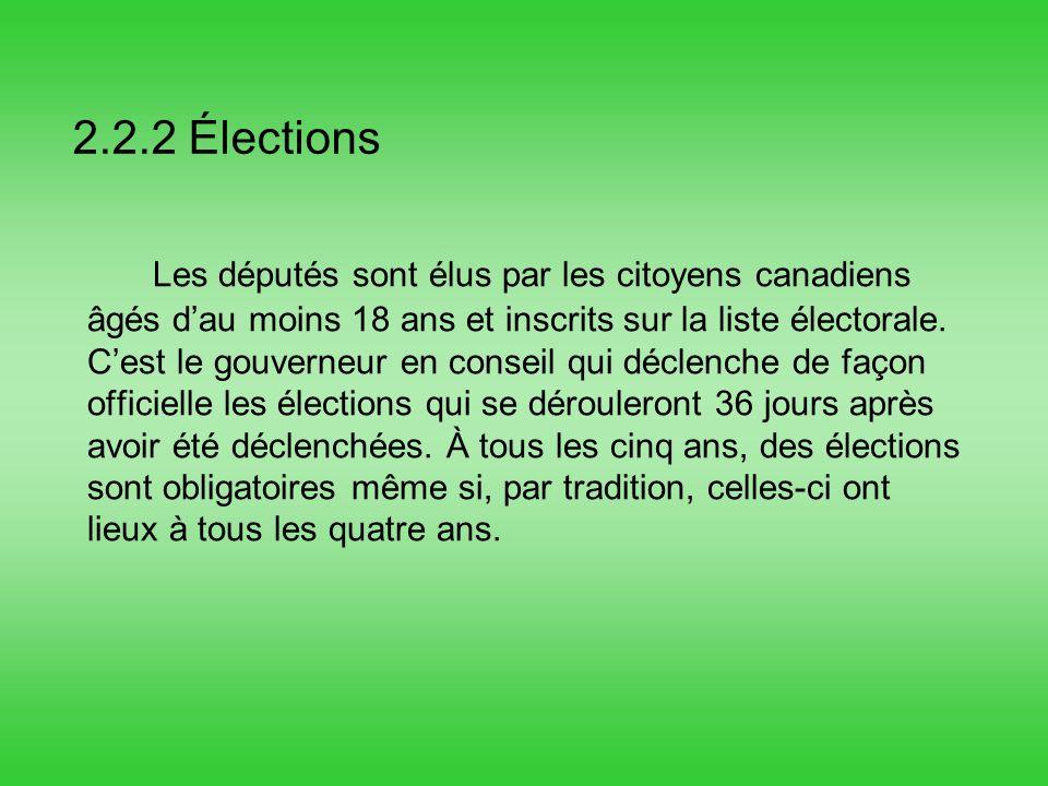 2.2.2 Élections Les députés sont élus par les citoyens canadiens âgés dau moins 18 ans et inscrits sur la liste électorale.