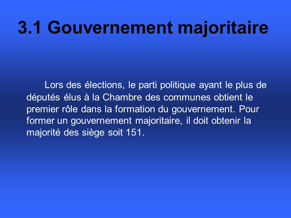 3.1 Gouvernement majoritaire Lors des élections, le parti politique ayant le plus de députés élus à la Chambre des communes obtient le premier rôle dans la formation du gouvernement.