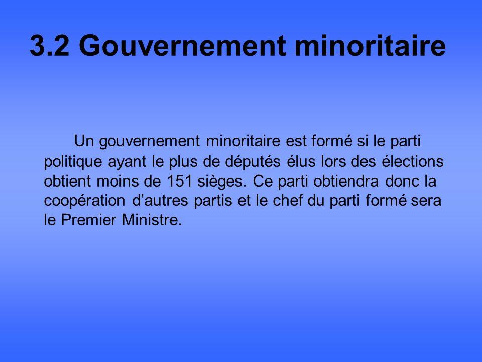 3.2 Gouvernement minoritaire Un gouvernement minoritaire est formé si le parti politique ayant le plus de députés élus lors des élections obtient moins de 151 sièges.