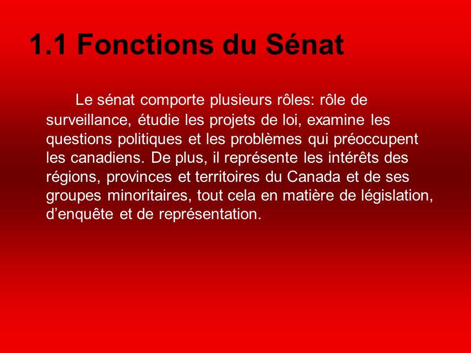 1.1 Fonctions du Sénat Le sénat comporte plusieurs rôles: rôle de surveillance, étudie les projets de loi, examine les questions politiques et les problèmes qui préoccupent les canadiens.