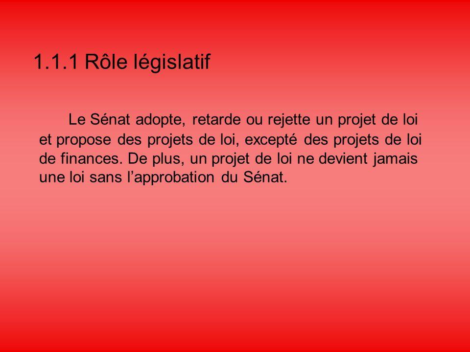 1.1.1 Rôle législatif Le Sénat adopte, retarde ou rejette un projet de loi et propose des projets de loi, excepté des projets de loi de finances.