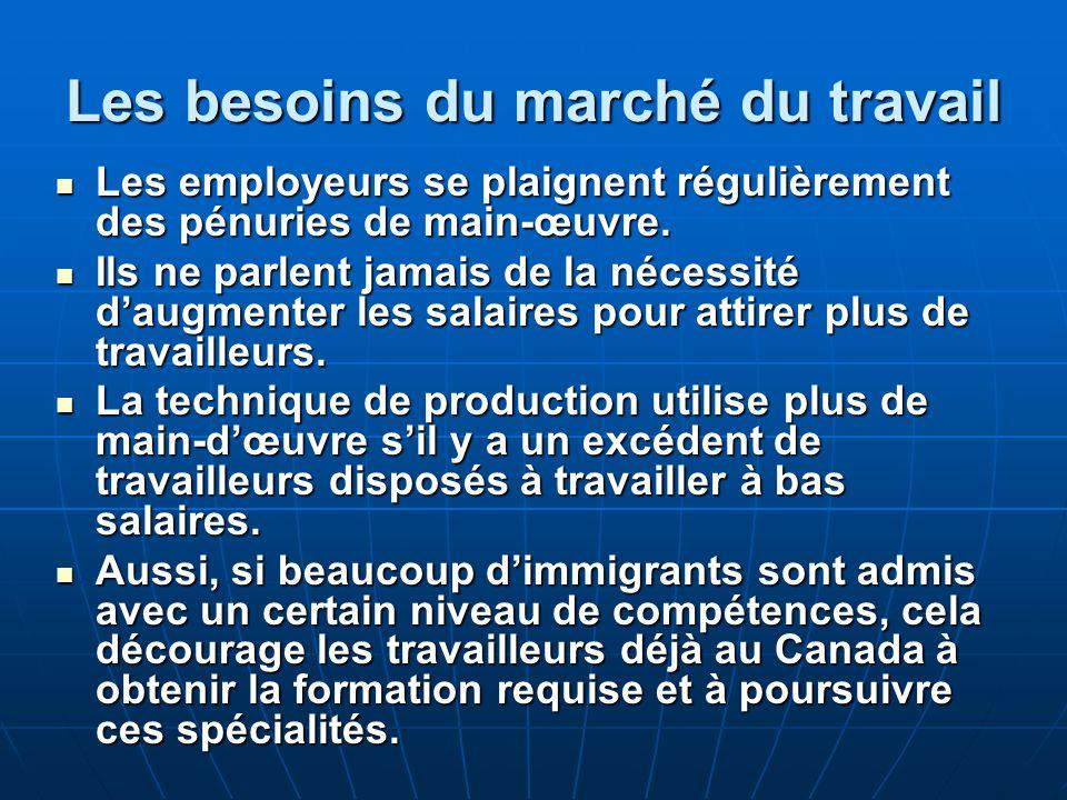 Les besoins du marché du travail Les employeurs se plaignent régulièrement des pénuries de main-œuvre.