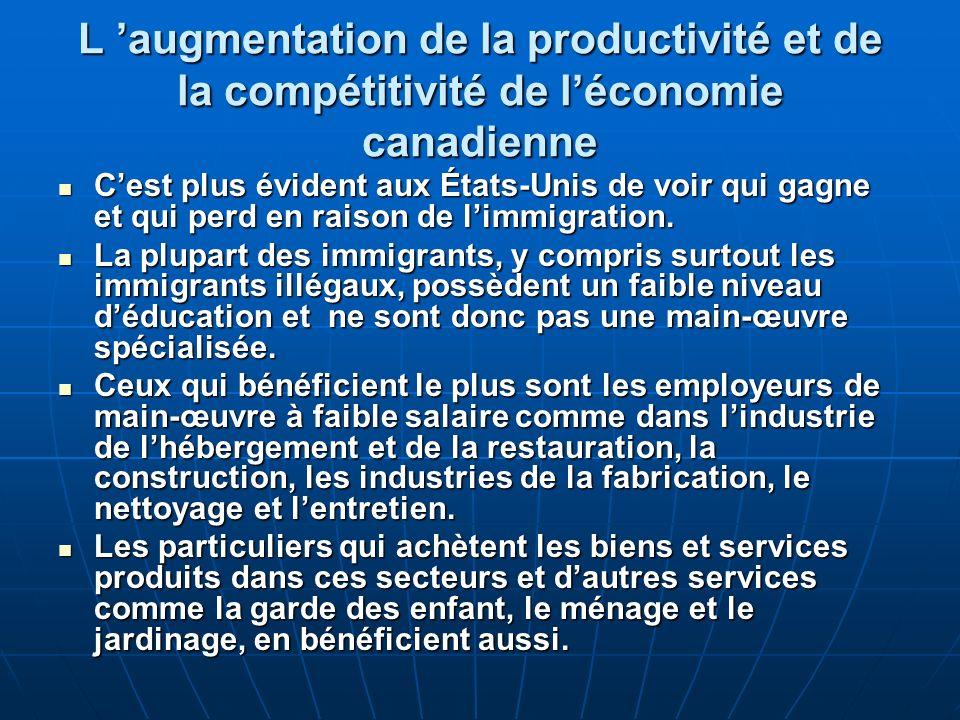 L augmentation de la productivité et de la compétitivité de léconomie canadienne Cest plus évident aux États-Unis de voir qui gagne et qui perd en raison de limmigration.