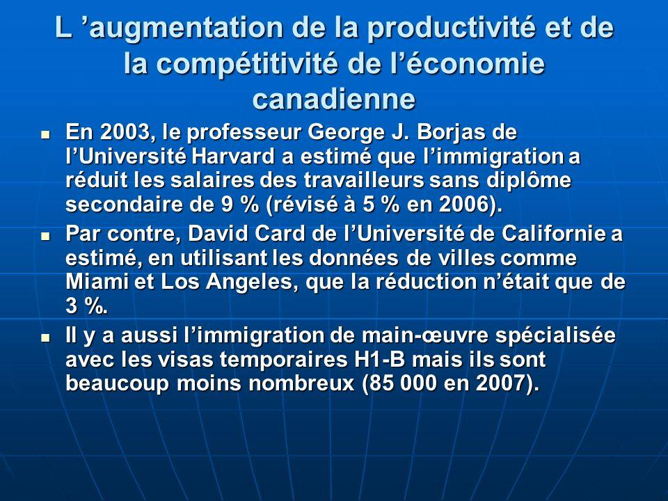 L augmentation de la productivité et de la compétitivité de léconomie canadienne En 2003, le professeur George J.