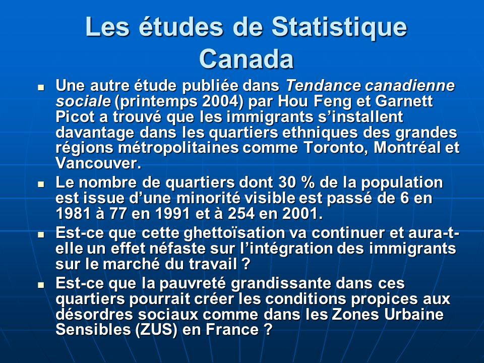 Les études de Statistique Canada Une autre étude publiée dans Tendance canadienne sociale (printemps 2004) par Hou Feng et Garnett Picot a trouvé que les immigrants sinstallent davantage dans les quartiers ethniques des grandes régions métropolitaines comme Toronto, Montréal et Vancouver.
