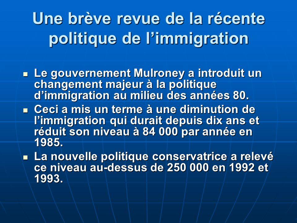 Une brève revue de la récente politique de limmigration Le gouvernement Mulroney a introduit un changement majeur à la politique dimmigration au milieu des années 80.