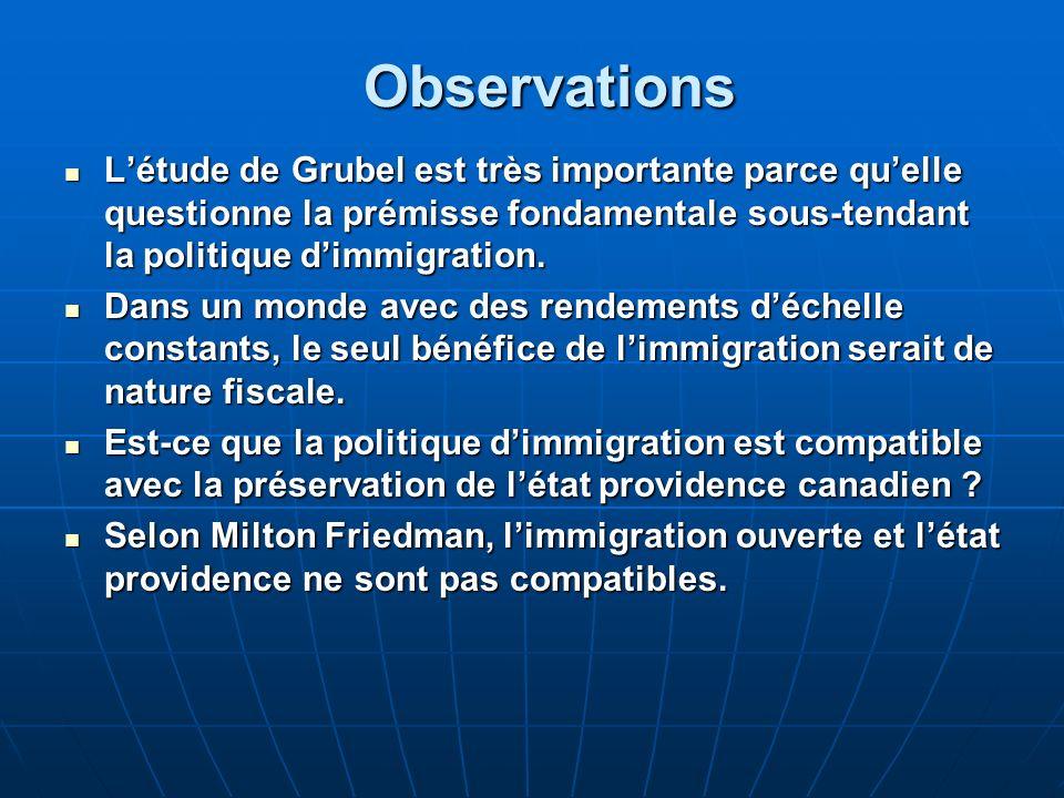 Observations Létude de Grubel est très importante parce quelle questionne la prémisse fondamentale sous-tendant la politique dimmigration.