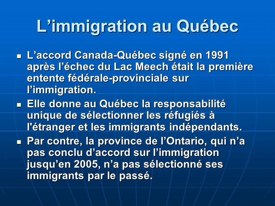Limmigration au Québec Laccord Canada-Québec signé en 1991 après léchec du Lac Meech était la première entente fédérale-provinciale sur limmigration.