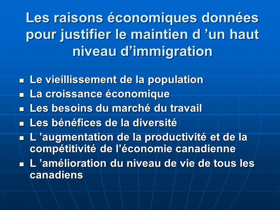 Limmigration au Québec Les Québécois doivent poser deux questions difficiles à leur gouvernement quant aux faibles résultats des nouveaux immigrants : Est-ce quils sont la conséquence d une mauvaise sélection des immigrants ou la conséquence de conditions économiques pour les immigrants pire au Québec quen Ontario .