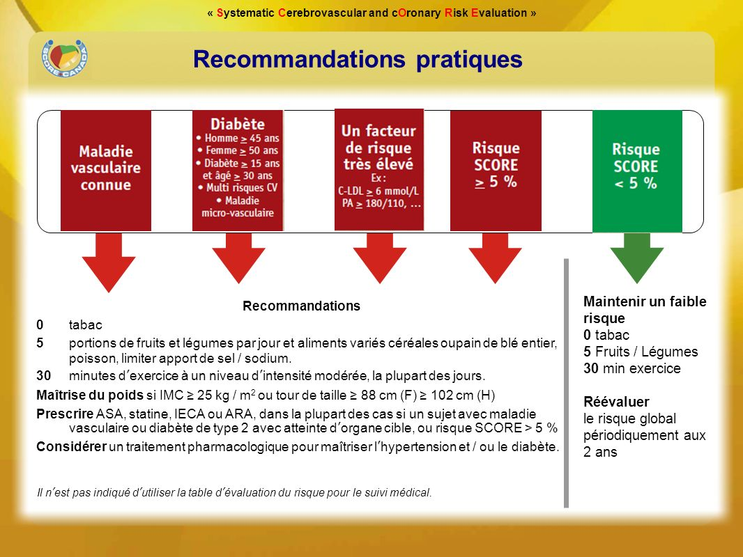 « Systematic Cerebrovascular and cOronary Risk Evaluation » Recommandations pratiques Maintenir un faible risque 0 tabac 5 Fruits / Légumes 30 min exe