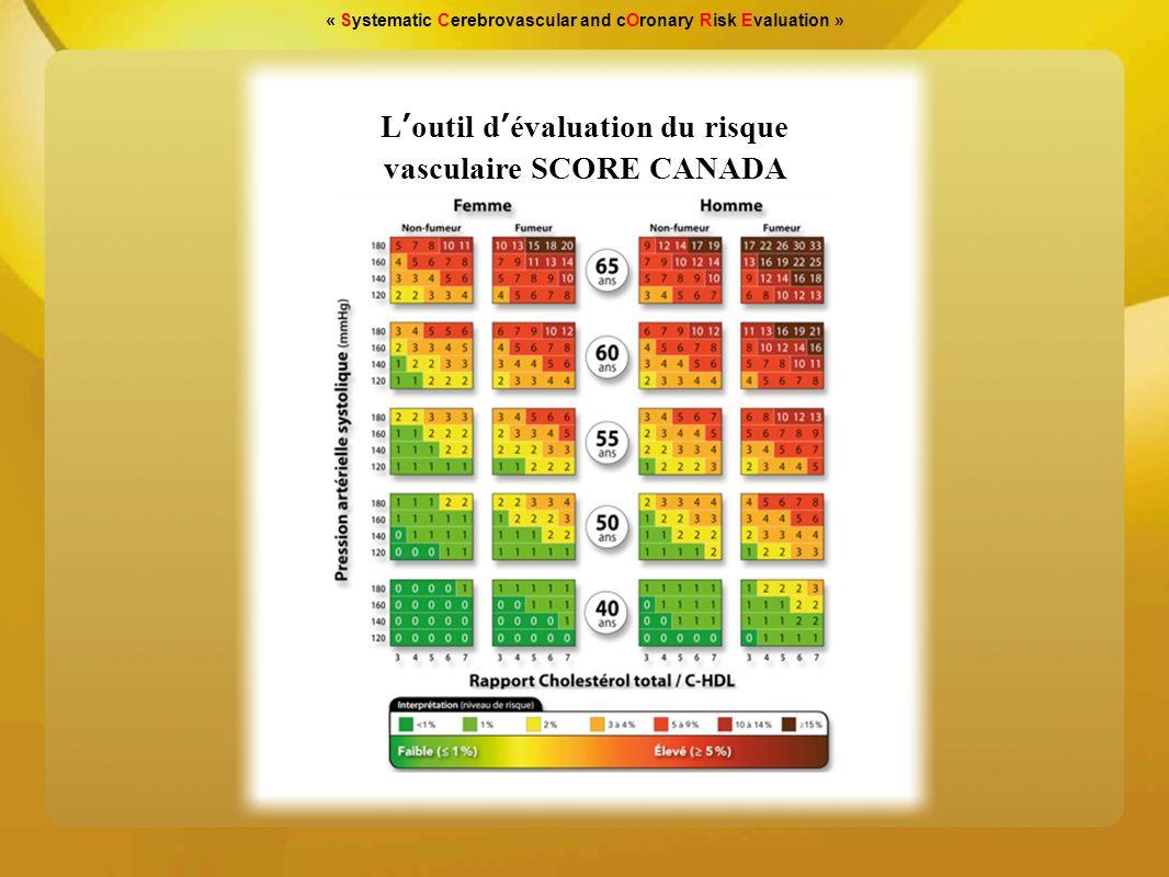 « Systematic Cerebrovascular and cOronary Risk Evaluation » 1.Établir le risque vasculaire global 2.Fixer les objectifs/les cibles 3.Agir pour les atteindre La démarche SCORE CANADA a été élaborée sur recommandations de la «Coalition Vasculaire Canadienne» Elle se résume de la manière suivante: