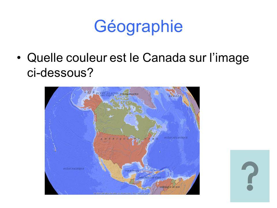 Géographie Quelle couleur est le Canada sur limage ci-dessous?